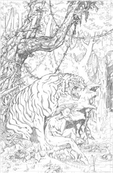 Fantasy pin up (pencils) by kyle-roberts