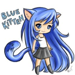 Blue Kitteh by mayan-art