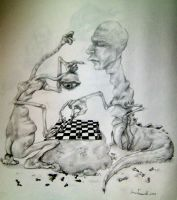Hortis and Toks Playing Chess by femjesse