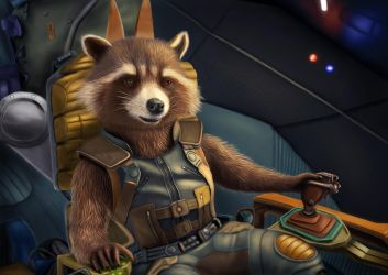 Rocket Raccoon - Digital drawing (3) by BiigM