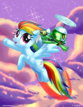 Rainbow Dash And Tank Flying by Dieart77
