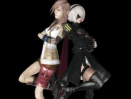 Lightning and 2B by Dante-564