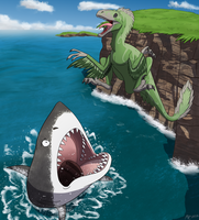 Commission: Maws meet Jaws! by MightyRaptor