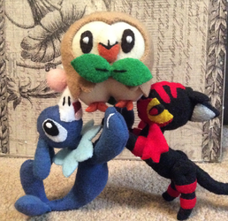 Popplio Rowlet and Litten (felt dolls) by MichelleBergeron