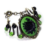Steamgoth Bracelet - Green and Black Rose Cameo by CatherinetteRings