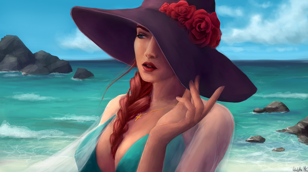 Beach girl portrait by Viollethien