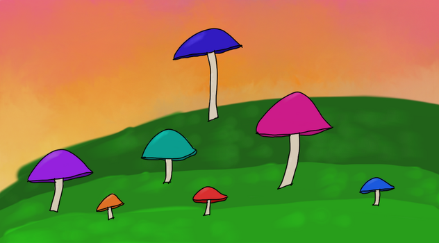 Magical Mushroom Field by Alyelectricblue