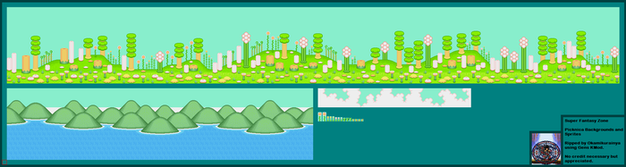 Super Fantasy Zone Picknica Backgrounds + Sprites by Okamikurainya