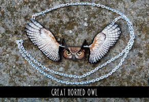 Great Horned Owl - plywood pendant by MithriLady