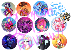 Buttons for Bronycon2013 by skyfries