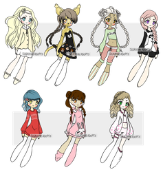 Braids and Jammies Adopts- 1/7 OPEN -lowered price by suukiishieADOPTS