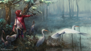 Red Hood with Egrets by mrssEclipse