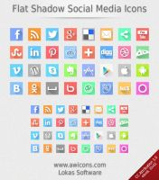 Flat Shadow Social Media Icons by Insofta
