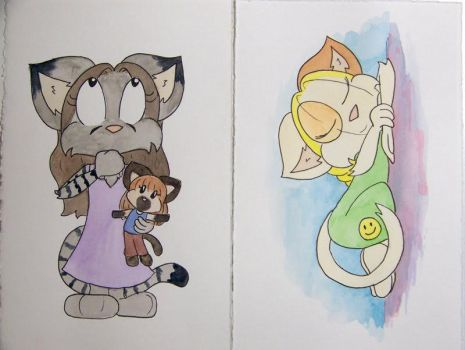 Yvette and Tiffany watercolors by chrispco