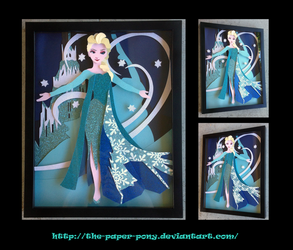 Frozen's Queen Elsa: Let It Go Shadowbox by The-Paper-Pony