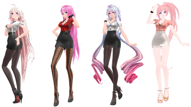 MMD: TDA Office IA, Luka, Maika, and UNI by K-Manoc1
