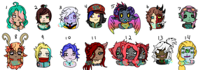 Chibi Headshot Adoptables 2 ((OPEN)) by Besus-Cretin
