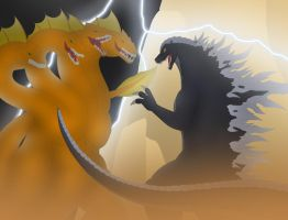 Godzilla vs the Hydra by Pyrus-Leonidas