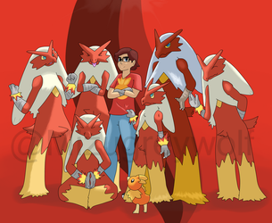 Team Blaziken by MizuGreyWolf