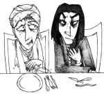 Snape and Quirrell: Dinnertime by Twisted-chan