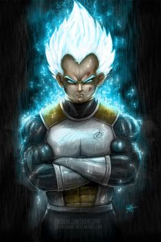 Vegeta Super Saiyan God by JasonsimArt