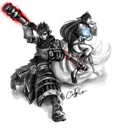 League of Legends - Ahri and Wukong by synchronetta