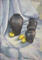 Lemons and black jugs by KonaRos