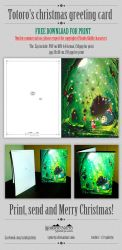 Totoro's christmas greeting card - FREE FOR PRINT by Syntetyc