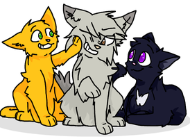 Firepaw, Graypaw, and Ravenpaw (SSS Style) by Jaycee9325