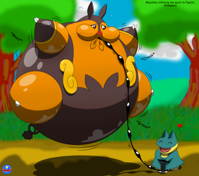 Munchlax inflating too much to Pignite. (Pokemon) by BlaueSeele