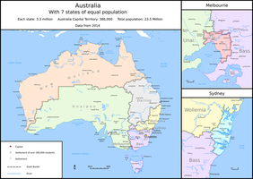 Australia, but with 7 states of equal population by Tullamareena