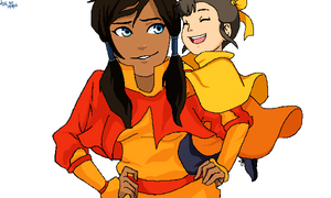 Korra and Ikki by xAmeChanx