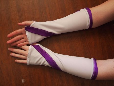 White and purple spandex armwarmers by WhimsicalSquidCo
