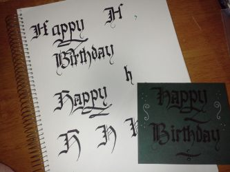 Birthday card and practice lettering by Darkon-Lock