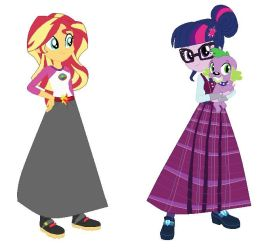 Sunset and Twilight's long skirts. by Starman1999