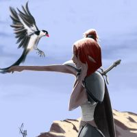Girl with bird by rymatoi