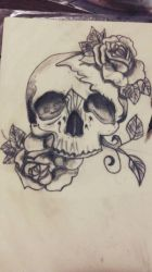 Skull with roses by sandy0411