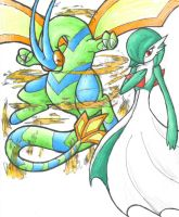 Flygon and Gardevoir by Snapdragoon