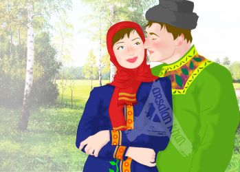 Traditional Russian Couple by ArsalanKhanArtist