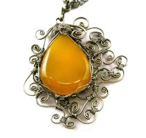 Wire Wrap Necklace with Yellow Onyx by hyppiechic