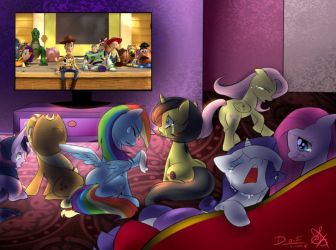 Mane 6 watching Toy Story 3 ending So Long Partner by Ry-BluePony1