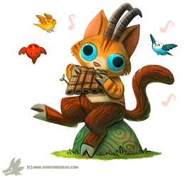 Daily Paint #1035. Pan Cat (+Mini announcement) by Cryptid-Creations