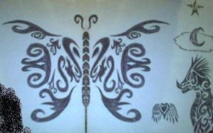 Tribal butterfly tattoo by Sexy-Slender-Dragon