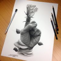 Bloom Pencil Drawing by AtomiccircuS