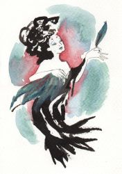 Postcard - Feathered Lady by LevyRasputin