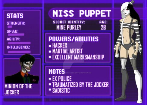 Miss Puppet- young justice character sheet by AngeluzDKraten