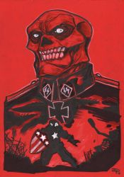 Red Skull and Cap by DenisM79