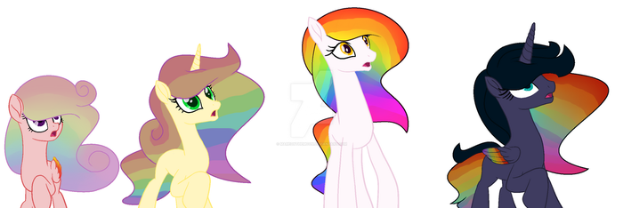 The Rainbow Ponies - 1/1 OPEN by MareOnTheMoon