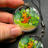 Dragon terrarium keychain charm by michellescribbles