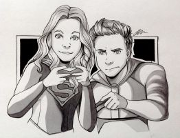 Barry and Kara Doodle by artbox99